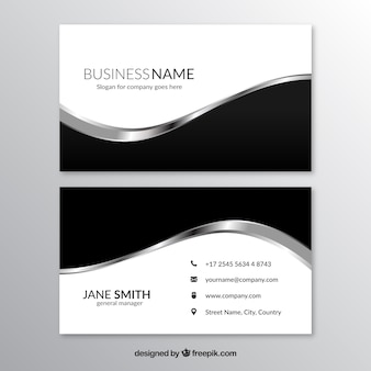 Visiting card with black and gray shapes