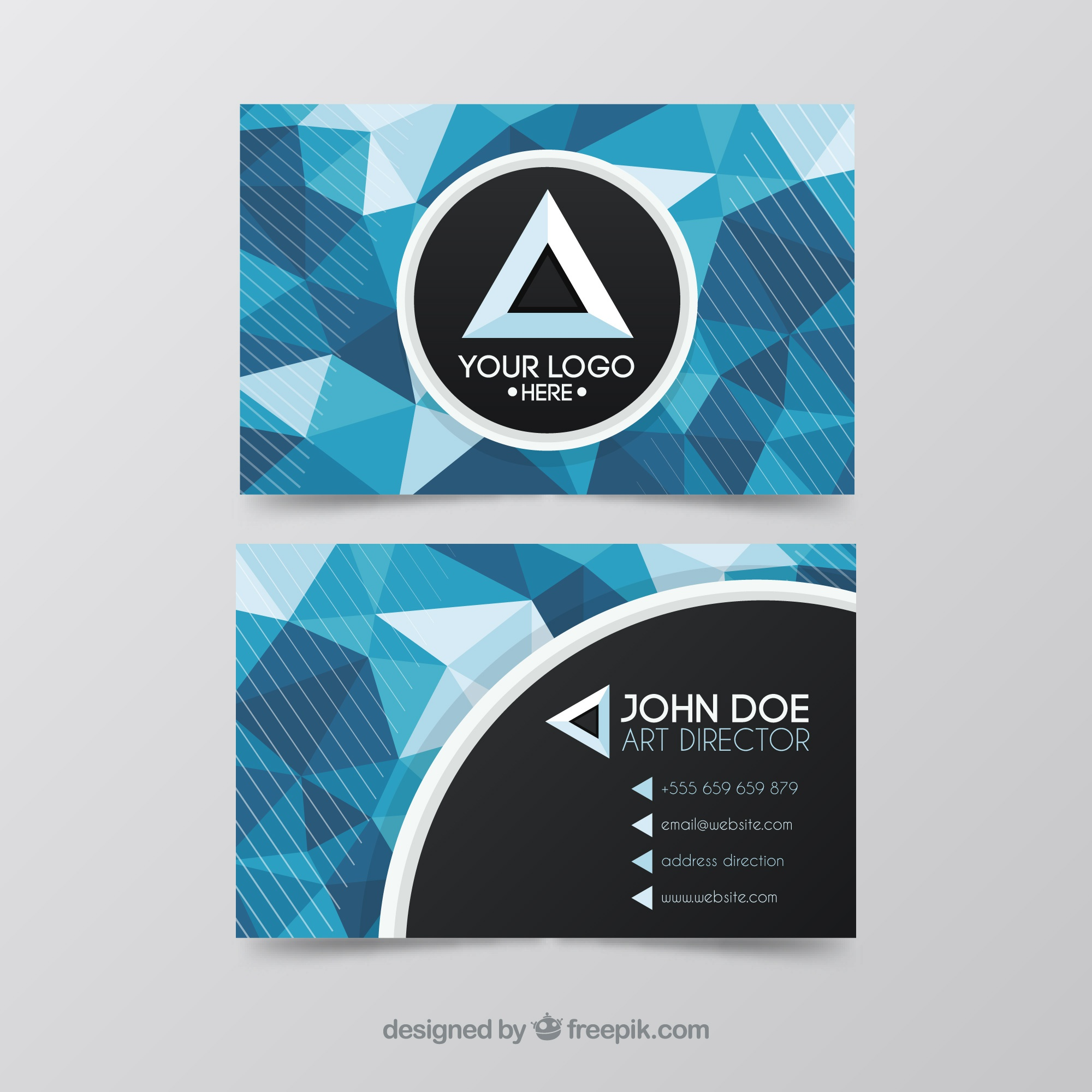 Visiting card with blue polygonal shapes
