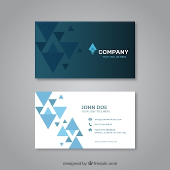 Visiting card with blue triangles