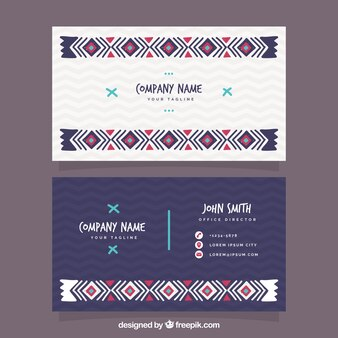 Visiting card with boho decoration