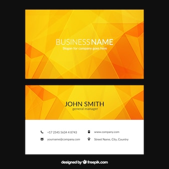 Visiting card with geometric shapes in orange tones