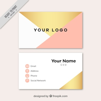 Visiting card with pink and golden shapes
