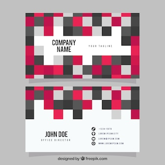 Visiting card with squares in pink and gray tones