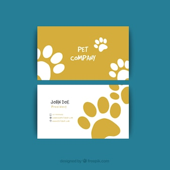 Visiting card with tracks for pet shop