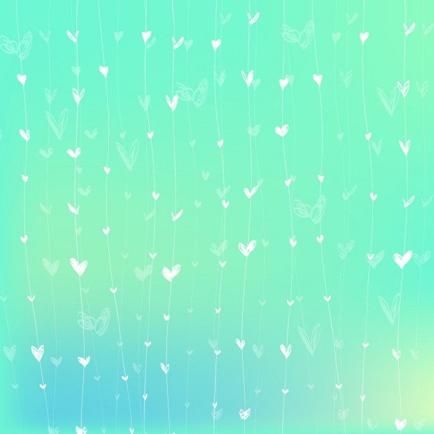 Vivid colors background with hanging white hearts