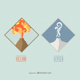 Volcano and geyser badges