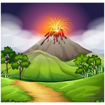 Volcano background design