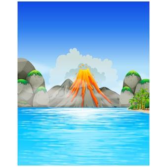 Volcano background design
