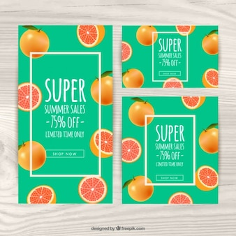 Vouchers for summer with tropical fruits