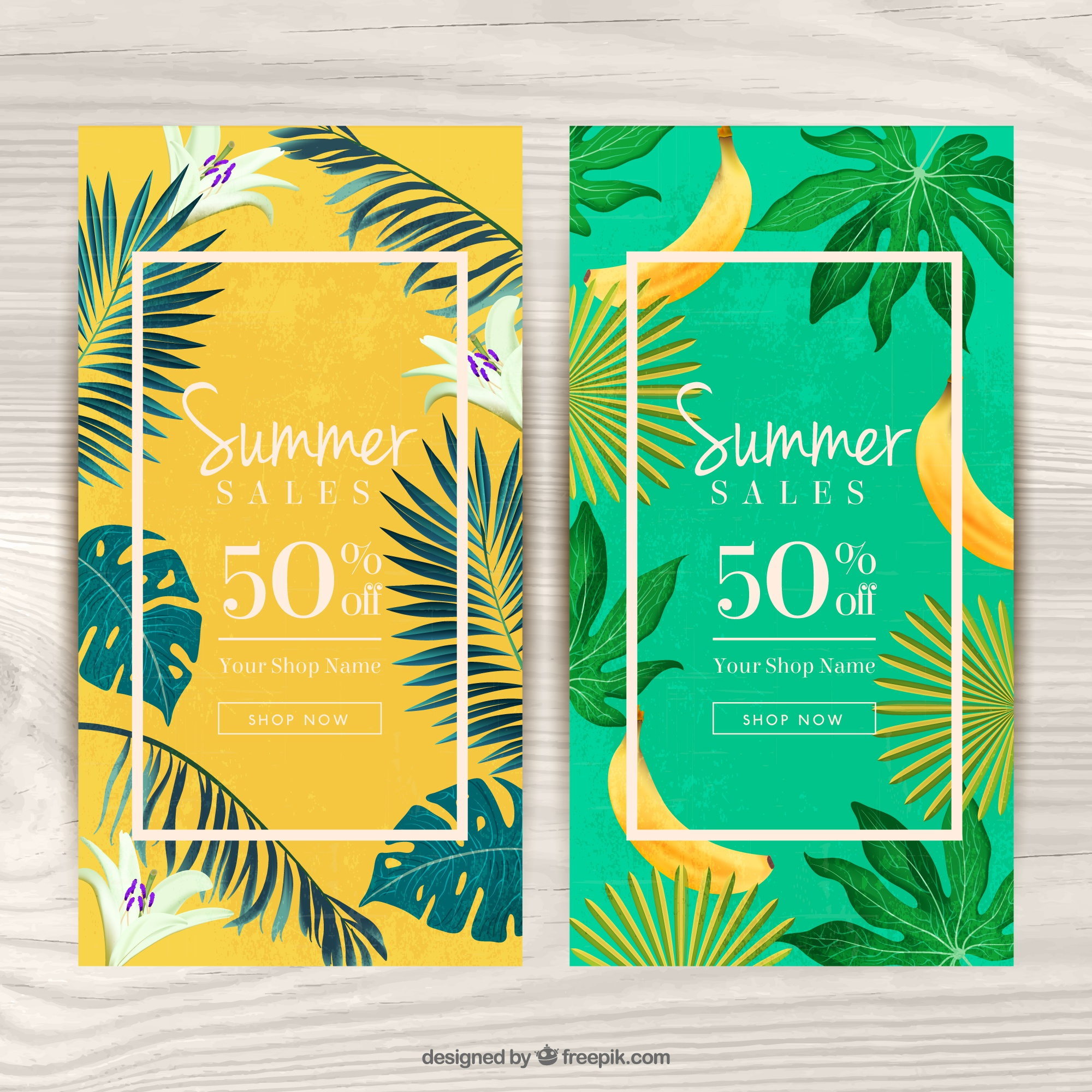 Vouchers for summer with tropical theme