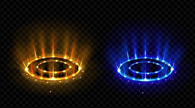 Vs hologram effect circles set.