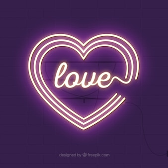 Wall background with luminous hearts