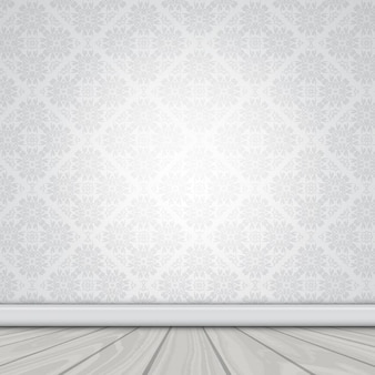 Wall with damask wallpaper and wooden floor