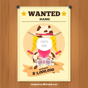 Wanted cowgirl template