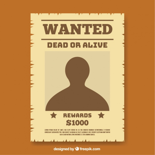 Wanted poster template in flat design