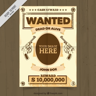 Wanted poster template with handgungs drawings