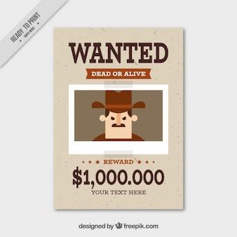 Wanted poster with flat criminal and great reward