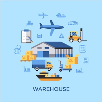 Warehouse elements background