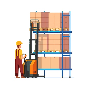 Warehouse worker operating electric fork lifter