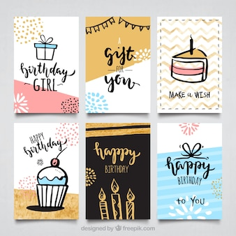 Water color birthday cards collectio