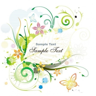 water color floral frame vector illustration