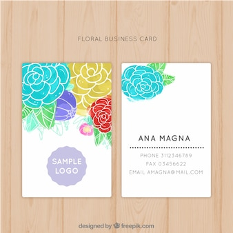 Water color flowered business card