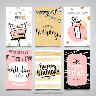 Water color girls birthday cards collection