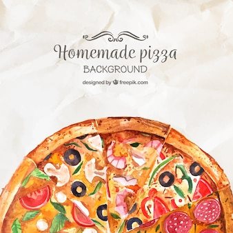 Water color homemade pizza background
