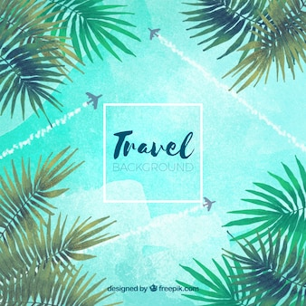 Water color travelling by plane background