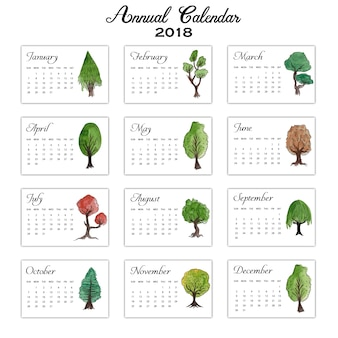 Water Color Trees Annual Calender 2018