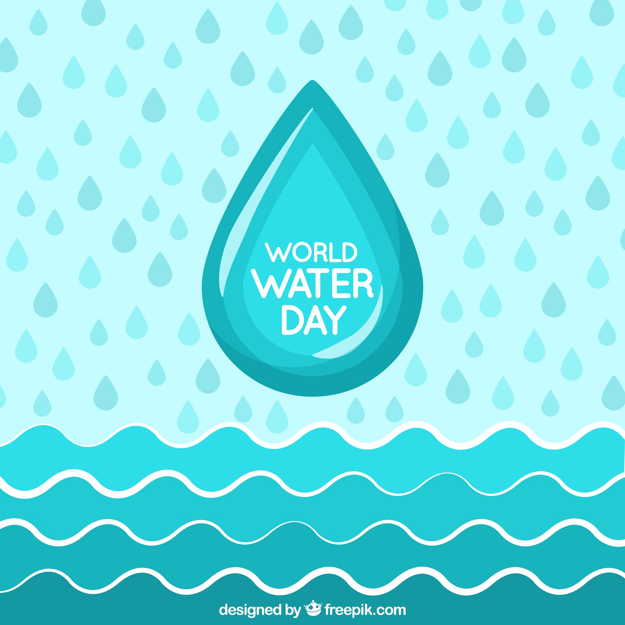 Water day background with waves and drops