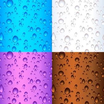 異なる色のシームレスなタイルの水滴の背景