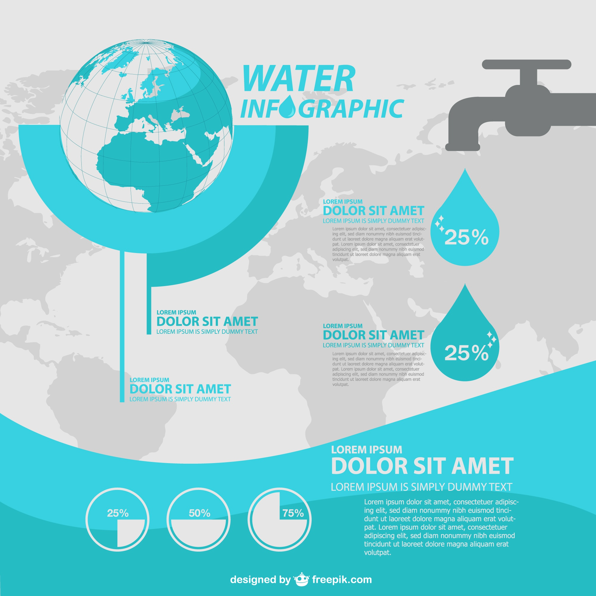Water infographic with a tap