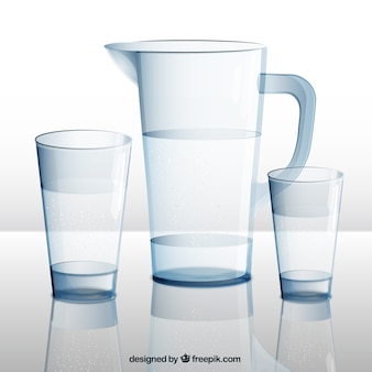 Water pitcher and glasses