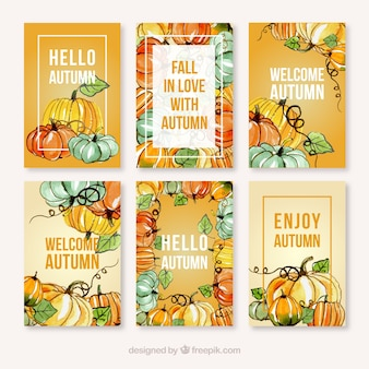 Waterclor autumn card collection