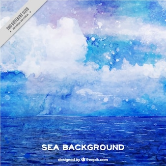 Watercolor abstract background of sea