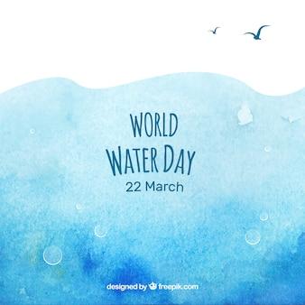 世界水の日の水彩画抽象的な背景
