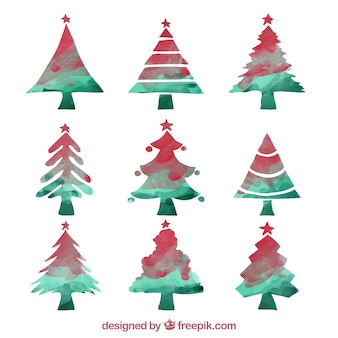Watercolor abstract christmas trees