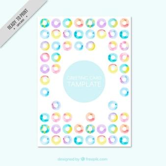 Watercolor abstract circles greeting card