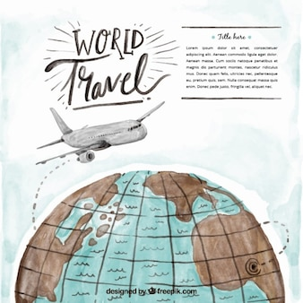 Watercolor airplane over the world background