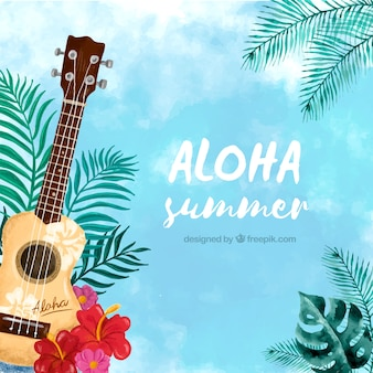 Watercolor aloha background with ukulele