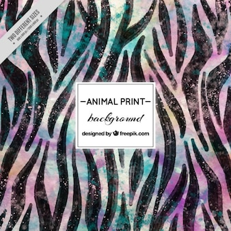 Watercolor animal background with black stripes