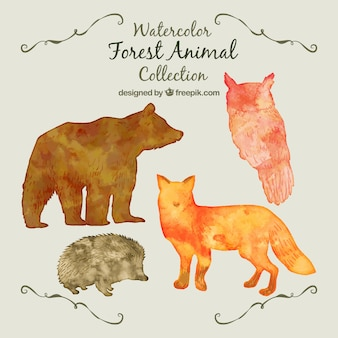 Watercolor animal silhouttes