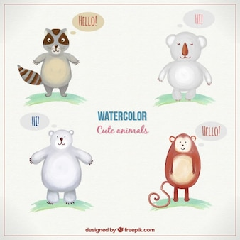 Watercolor animals in cute style
