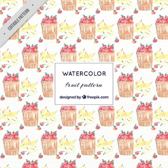 Watercolor apples and fruits pattern