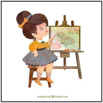 Watercolor artist girl