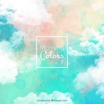 Watercolor artistic background of clouds