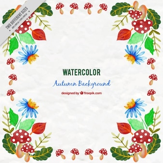 Watercolor autumn background with blue flowers