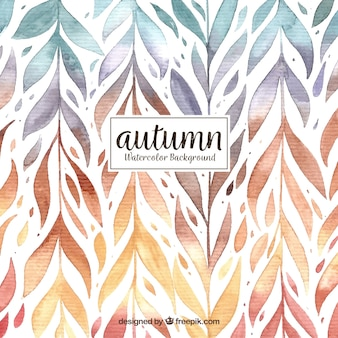 Watercolor autumn background with pattern of leaves