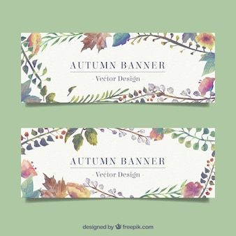 Watercolor autumn banner set